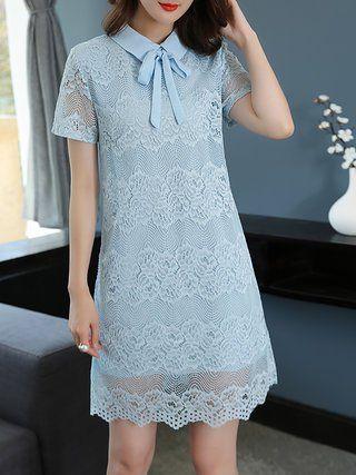 Guipure lace Bow Shift Mini Dress
