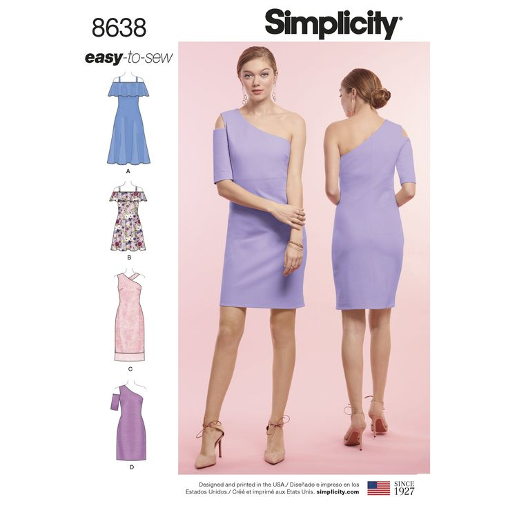 Misses\' easy-to-sew dresses can be made with off-the-shoulder ...