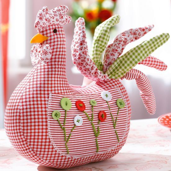 How cute!  Gingham hen/rooster
