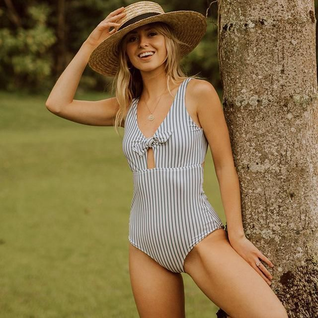 7861498795a60 ... Summer 2018 Swimwear Trends Women's White and Gray Striped Push Up  Monokini Hollow Out One Piece Swimwear Bathing Suit Beach Wear On Sale by  PesciModa.