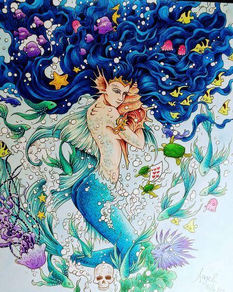I looooove how her hair came out #mermaid #bluehairdontcare #mythomorphia #kerbyrosanes #mycreativeescape #fabercastellpolychromos #polychromos #fabercastell #adultcoloringbooks #adultcoloringbook #adultcoloring #colouringforgrownups #stressrelief #mycreativeescape #myownworld #mymasterpiece #coloringmasterpiece #colouring #animorphia #imagimorphia #wip #fantasyart #coloringoninstagram #mermaidhairdontcare #mermaidhair