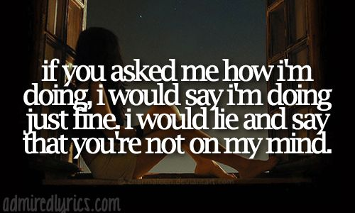 If You Asked Me How I'm Doing, I Would Say I'm Doing Just Find, I'd Lie And Say That You're Not On My Mind. -Gavin DeGraw