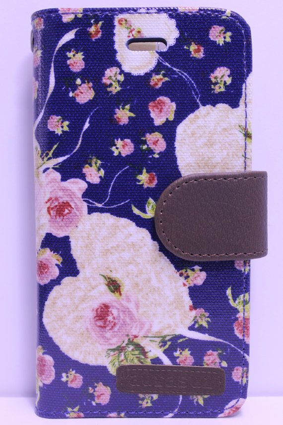 Blue Heart And Flower Diary Wallet Phone Case | Color Option Available
