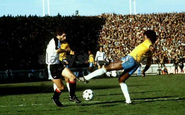 Brazil 1 Austria 0 in 1978 in Mar del Plata. Hans Krankl goes on the attack for Austria in Group 3 at the World Cup Finals.
