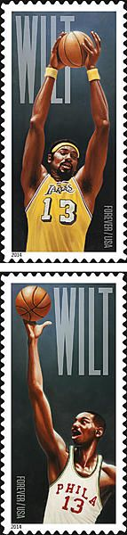 The US Postal Service announced two stamps honoring Wilt Chamberlin today.  One features Chamberlain in the Philadelphia Warriors uniform in which he scored 100 points against the New York Knicks on March 2, 1962, a single-game record that still stands to this day.
