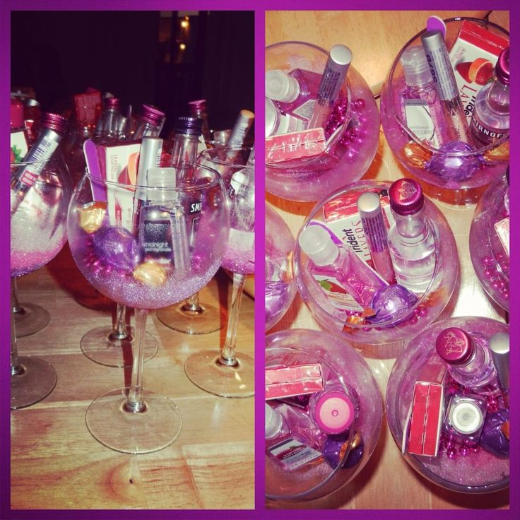 bachelorette favours! glitter wine glasses filled with everything you'll need for the night