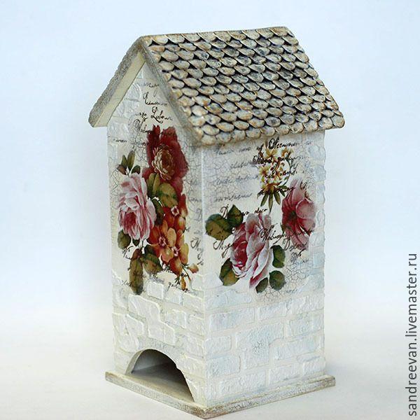 """Купить Чайный домик """"Шиповник и пионы"""" - разноцветный, светлый, чайный домик, чайный домик декупаж"""