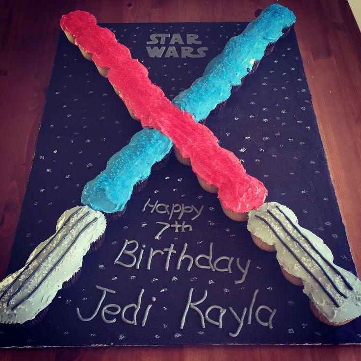 Star Wars light sabers cupcake pull-apart cake