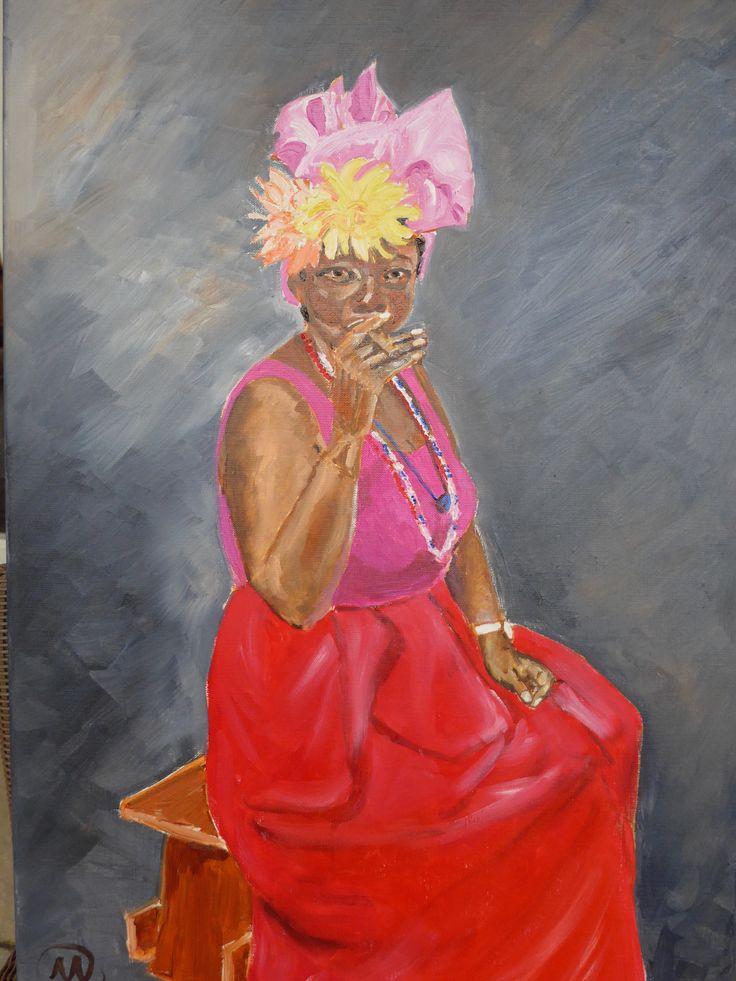 Mariska Sens. Cuban lady. Een typische Cubaanse vrouw die geniet van een goede havana sigaar, kleurrijk en dik geschilderd in olieverf.