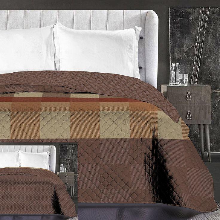 Hnedý prehoz na posteľ s prešívaním