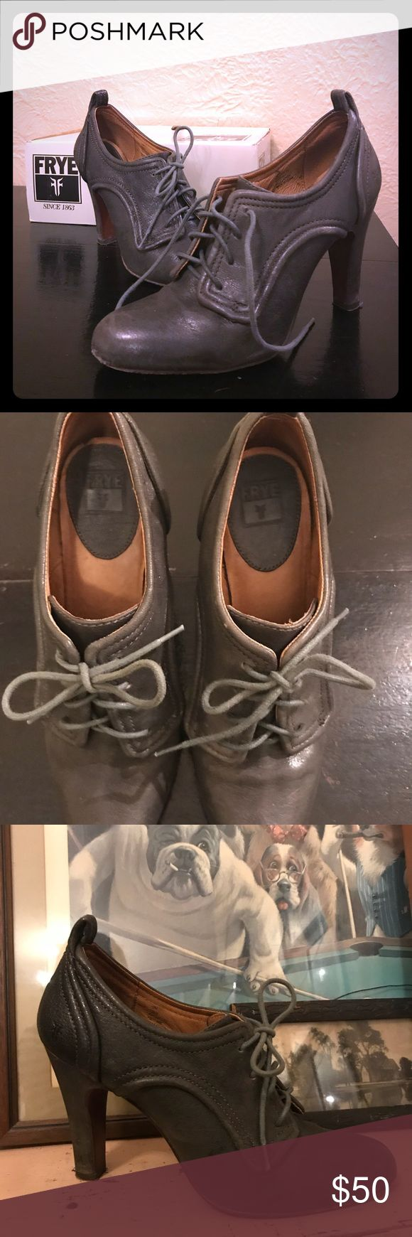 Ava Oxford Frye Shoes, grey, size 10 Beautifully dapper, leather heels. Excellent condition, only a handful of times. Frye Shoes Heels