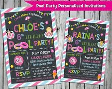 Pool Party Personalised Invitations by Lollipop Party Supplies.  http://www.lollipoppartysupplies.com.au