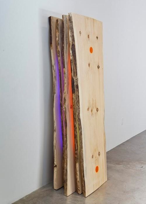 Robert Youds Urban Tribe (2011) pine wood slabs, LED lights and programmer