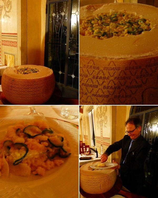 Risotto met saffraan en courgette opgediend uit een grote Grana Padano, bij Villa San Lucchese in San Gimignano