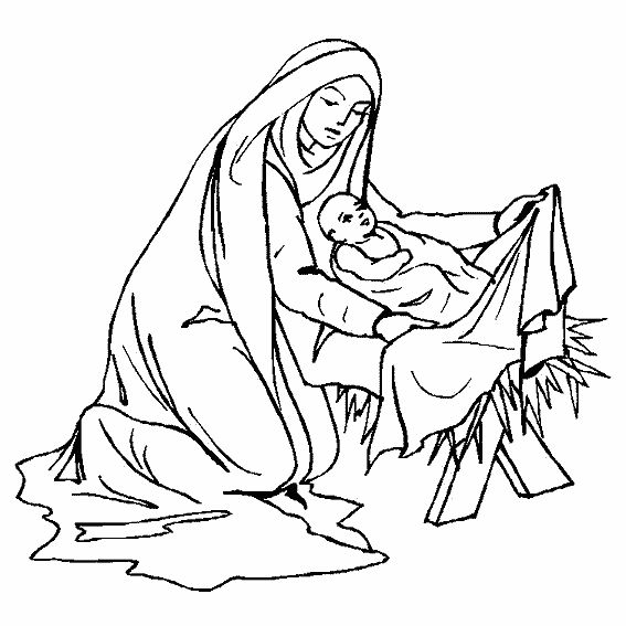 88 best kerst - kleurplaten images on pinterest | bible crafts ... - Mary Baby Jesus Coloring Page
