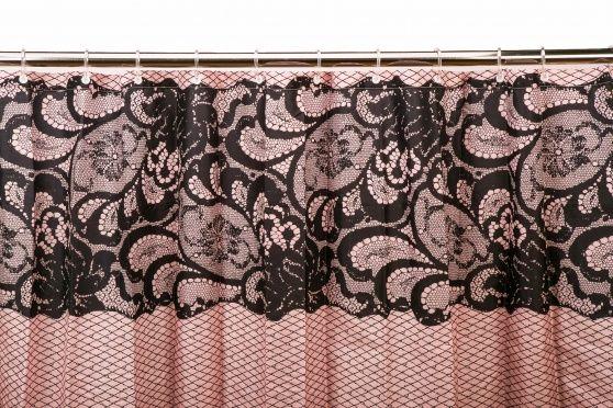 Cortina de Baño Encaje Rosa/Negra 180 x 180cm - 13€