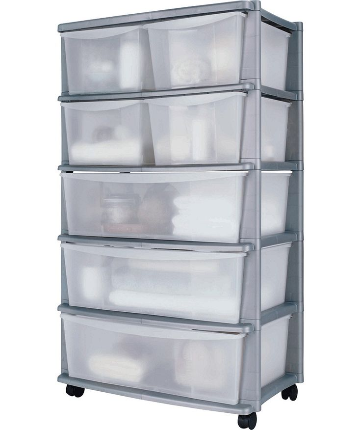Buy 7 Drawer Plastic Wide Tower Storage Unit Silver At