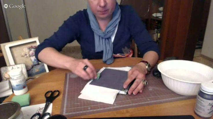 """Университет декупажа. Магдалина Соловьева. 8 день """"Винтажный декор поверхности. Имитируем ткань с объёмным рисунком"""":"""