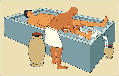 Mummification was a very complicated process. The body was first embalmed in order to be prepared for mummification.
