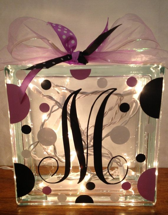 Customized LIGHTED GLASS BLOCK with Initial Polka by PamsPolkaDots, $25.00