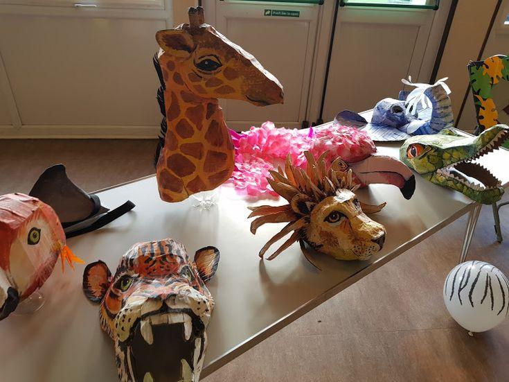 Card jungle animal heads and masks. Crocodile mask, tiger mask, elephant mask, lion head/hat, giraffe head/hat, parrot head/hat, flamingo costume/head