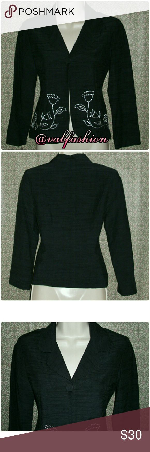 """LISTING!! ONE BUTTON SHORT BLAZER! Cute short blazer by Maxou. Beautiful white flower stitching on front. A single button front closure. Shoulder padded. 34% rayon 34% cotton and 32% nylon. 100% polyester lining. Length is 20"""" waist is 28""""  bust is 30-32"""" sleeves are 19.5""""  size 10 maxou Jackets & Coats Blazers"""