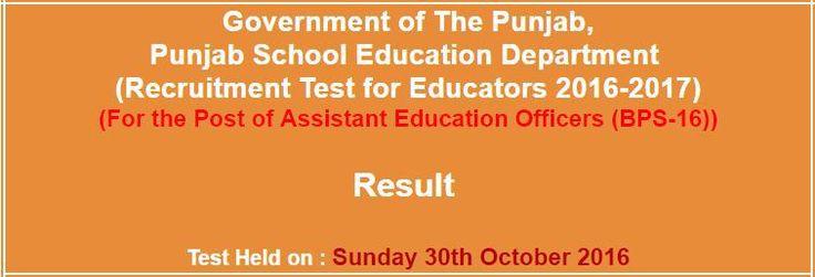 Punjab School Education Department AEOs  NTS Result 2017