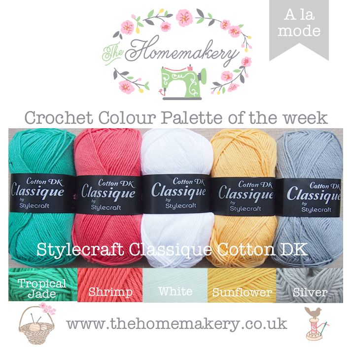 This weeks A La Mode Crochet Colour Palette uses on trend shades of mustard, coral and jade cotton yarn from Stylecraft Classique Cotton DK, a great value 100% cotton yarn.