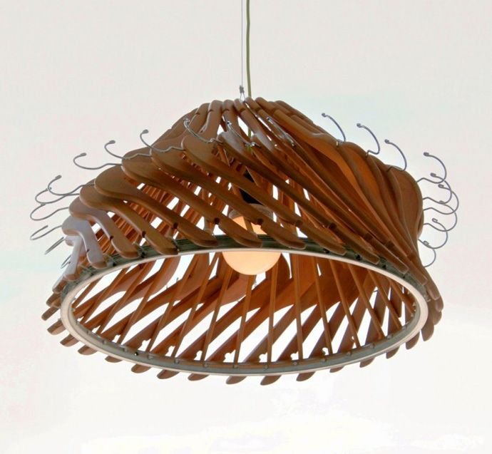 Recycle! Creative Lamp Using Wood or Plastic Clothes Hangers
