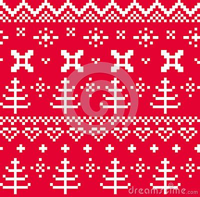 Traditional christmas knitted ornamental pattern  with trees