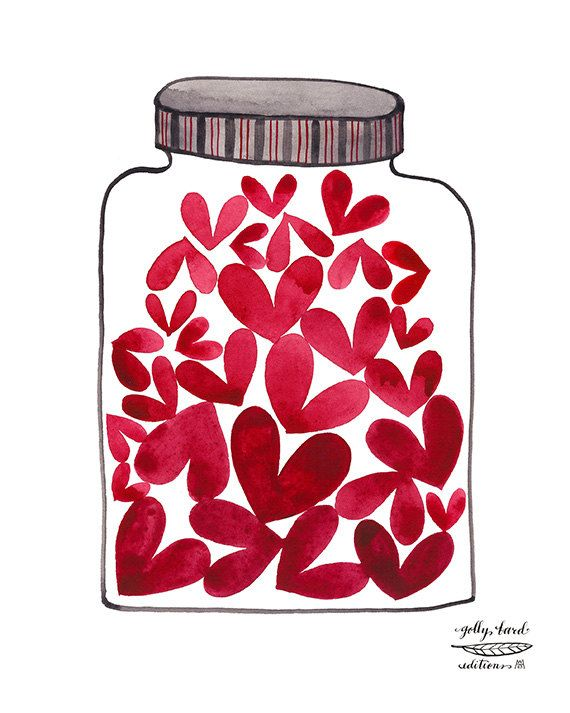 jar of love giclee print reproduction watercolor by by GollyBard, $36.00:
