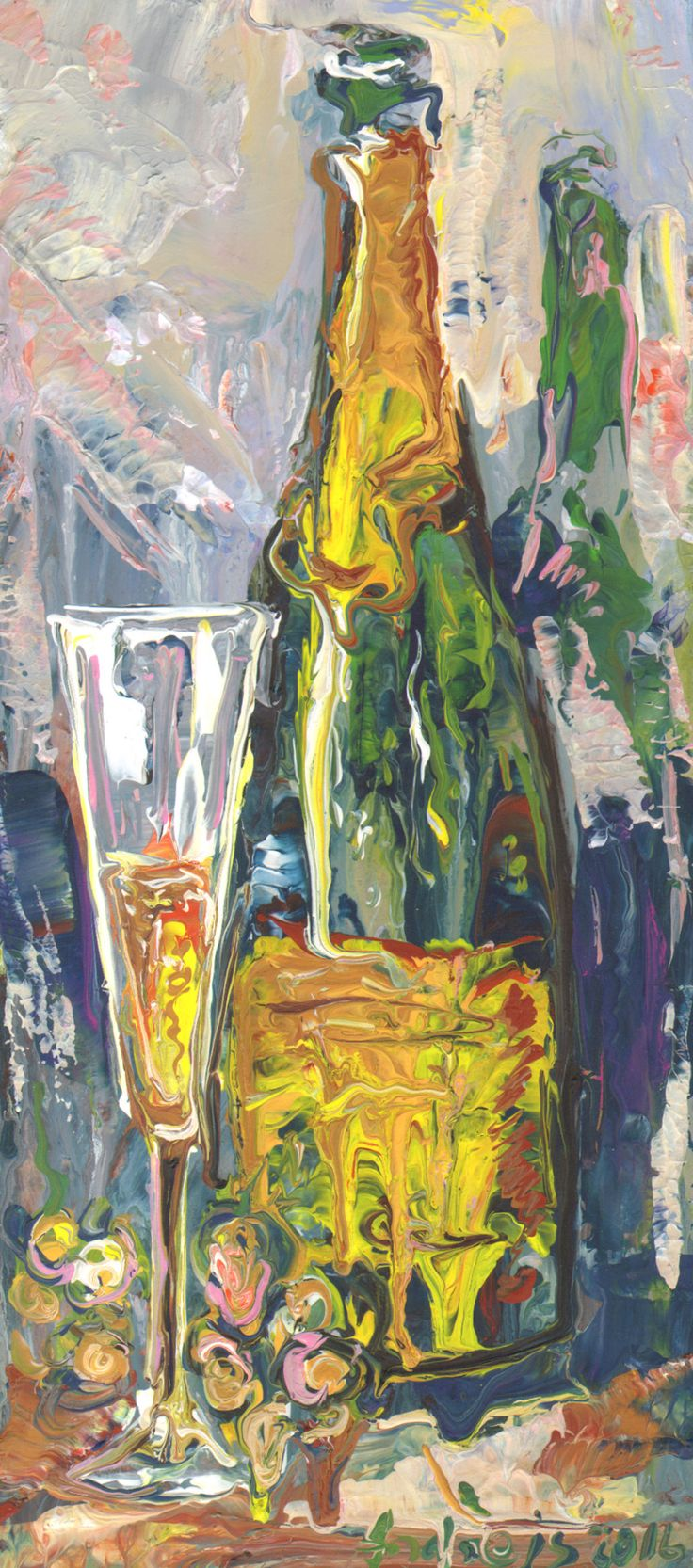 2016.10.5. Šampanieša glāze ar pudeli un vīnogām The glass of champagne with bottle and grapes acrylic/board, 40x18 cm https://www.facebook.com/andrey.bovtovich