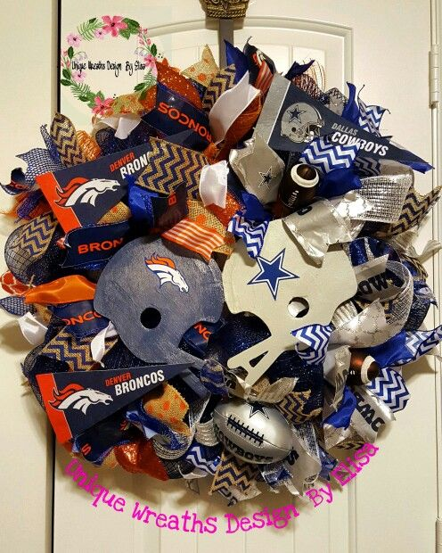 Butting Helmets House Divided Wreath Denver Broncos vs Dallas Cowboys