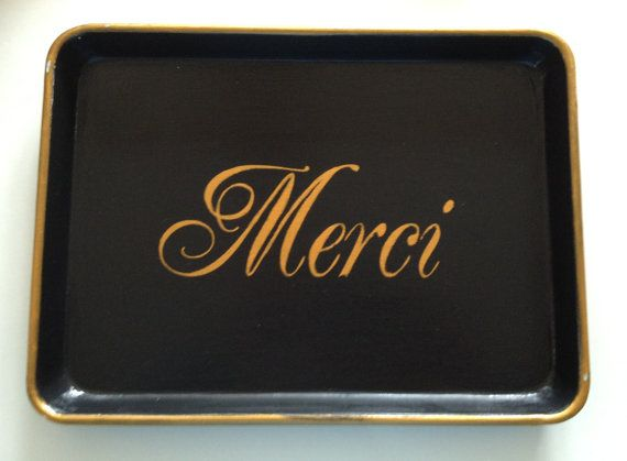 Merci black and gold metal tray