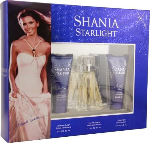 Shania Starlight by Shania Twain for Women. Set-Eau De Toilette Spray 1.7-Ounces & Shimmer Lotion 2-Ounces & Shower Gel 2-Ounces by Shania Twain. $24.99. Packaging for this product may vary from that shown in the image above. This item is not for sale in Catalina Island. Shania Starlight by Stetson Gift Set -- 1.7 oz Eau De Toilette Spray + 2 oz Shimmer Body Lotion + 2 oz Shower Gel for Women A sophisticated floral fragrance, with hints of star magnolia and freesia. Describe...