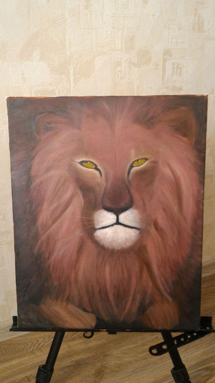 Картина масло холст лев живопись арт painting lion art drawing