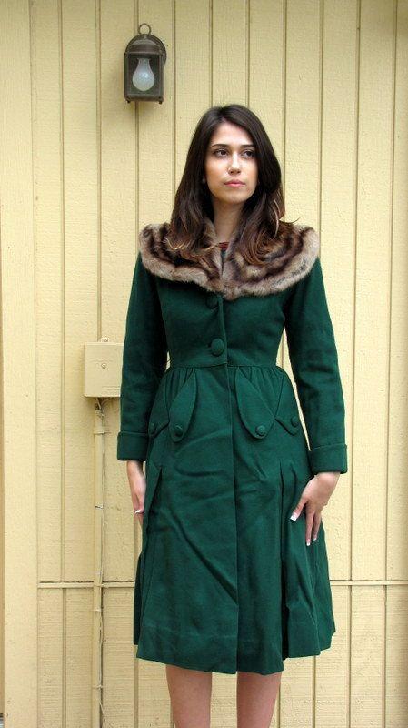 Vintage 40er jahre mantel mit pelz kragen vorbehalten for Lampen 40er jahre