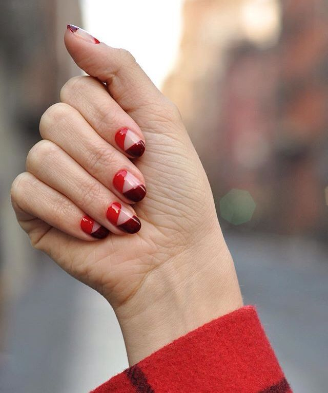 Negative space nails in red and burgundy by Paintbox Nails London