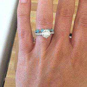Turquoise and Diamond Wedding Ring, Boho Wedding Ring, Wedding Ring for Women, Unique Wedding Band, Gold Eternity Ring, Gold Turquoise Ring