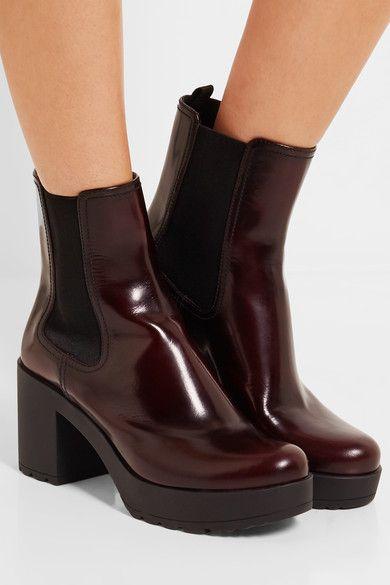 Prada - Glossed-leather Platform Chelsea Boots - Burgundy - IT39.5