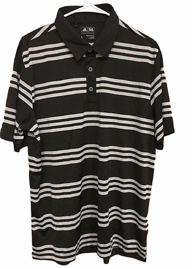 Adidas ClimaLite Mens Size Large Golf Polo Shirt, Black/Gray Stripe
