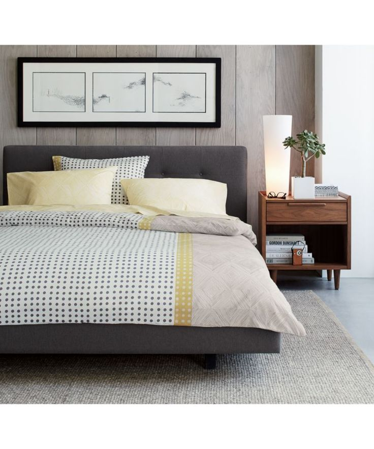 Tate upholstered queen bed crate and barrel queen beds - Crate barrel bedroom furniture ...