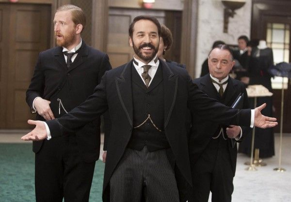 Mr. Grove (Tom Goodman-Hill), Jeremy Piven (Harry Selfridge) and Mr. Crabb (Ron Cook)