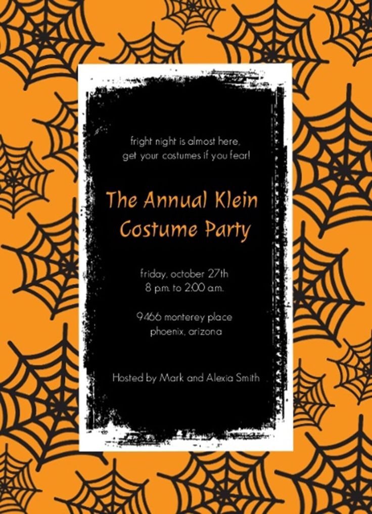 orange spiderweb the annual klein halloween costume party invitation template design ideas - Halloween Design Ideas