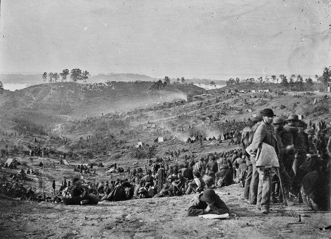 Confederate prisoners awaiting transportation, Belle Plain, Va, 1865.