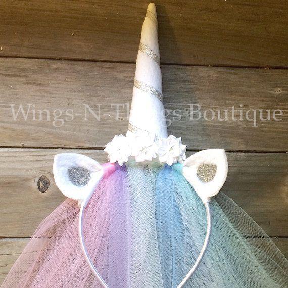 CELESTIA UNICORN PRINCESS PONY HEADBAND w/ tulle veil  This adorable handmade headband is adorned with silk flowers and rhinestones. The ears are