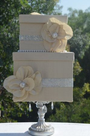 Wedding Card boxThe MarinaIvory Duponi Silk by ForeverLoveNotes, $97.00