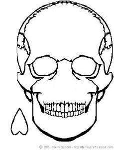 On The Skull Printable Halloween Party Game Colouring Pages
