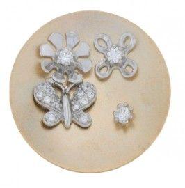 925 sterling zilveren MY iMenso fantasie munt met fantasie-bloemen en vlinder, gedoubleerd met rosé-goud en voorzien vanzirkonia`s.Munt Ø 33 mm