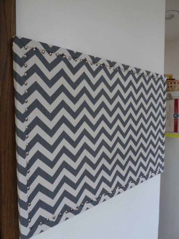 fabric covered pin board so cute, keep it trendy, change whenever you want! Get the fabric at http://www.sirsfabric.com/Chevron-Fabric-s/1995.htm